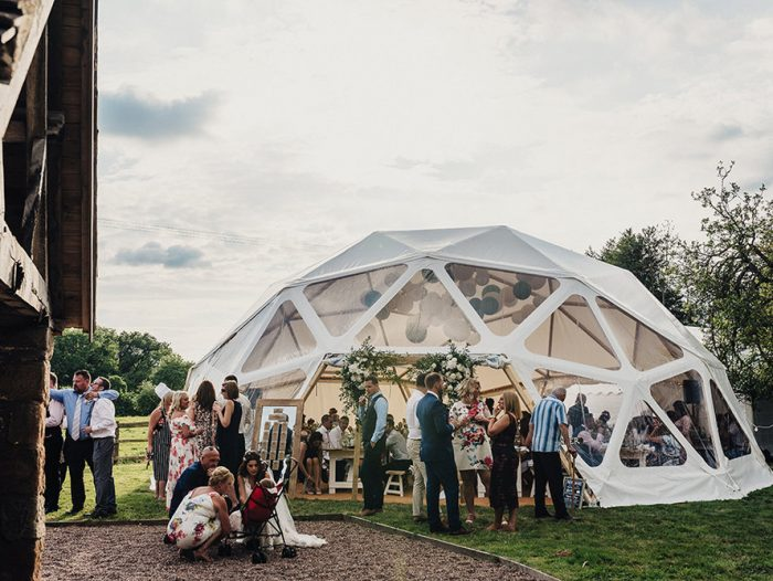 Dome gazebo at Countryside wedding venue Cornwall